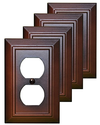 Pack of 4 Wall Plate Outlet Switch Covers by SleekLighting | Decorative Dark Brown Mahogany Look | Variety of Styles: Decorator/Duplex/Toggle / & Combo | Size: 1 Gang Duplex ()