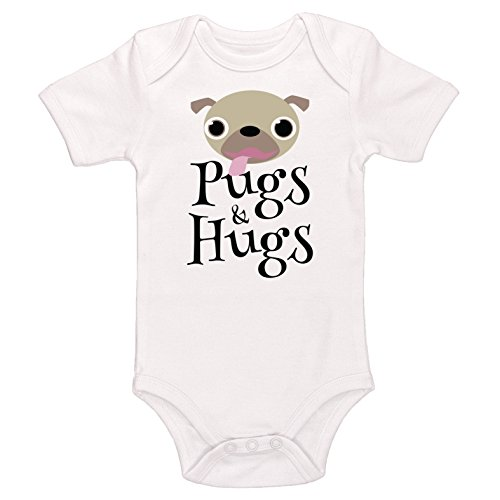 Starlight Baby Pugs & Hugs Bodysuit (White, 0-3 Months) -
