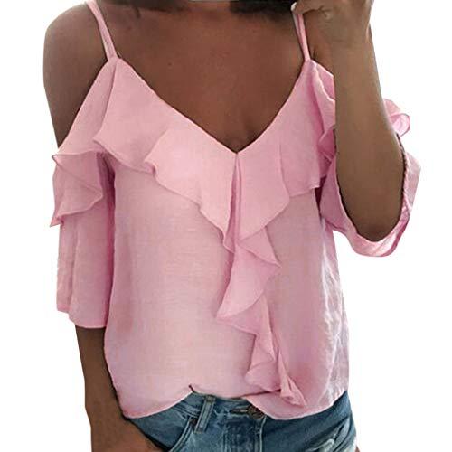 Caopixx Women Sexy V-Neck Halter Ruffled T-Shirt Top Summer Off Shoulder Beach Plus Size Blouse Pink