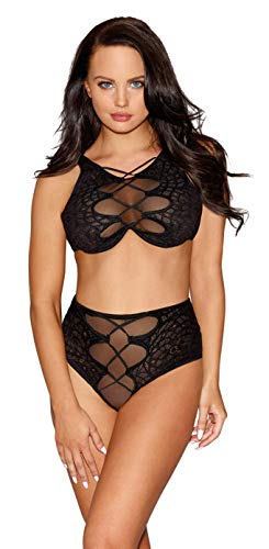 8d620288f0 Dreamgirl Women s Sheer Black Lace Bra and Panty Set with Faux Lace-Up  Detail -
