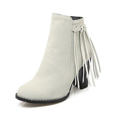 s Borla Tobillo Semicuero Robusto Zapatos Gray El Botines Mujer Dedo Heart  Moda Tacón amp m De Invierno Redondo Botas ... b87edef21ff