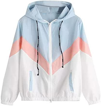 NOMUSING Sweatshirt for Women with Zipper Hood and Pockets Long Sleeve Patchwork Thin Skinsuit Hooded Casual Sport Coat