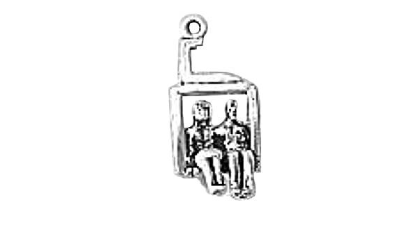 Sterling Silver Girls .8mm Box Chain 3D Ski Chairlift Pendant Necklace