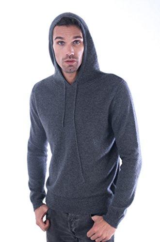 cashmere 4 U Men 100% Pure Mongolian Cashmere Woven Drawstring Hoodie Sweater-Gris Moyen