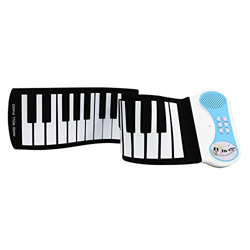 Coondmart Roll Up Piano, with Music Scores, 37 Standard Keys with Loud Speaker, Educational Toy for Beginner, Perfect Gift for Children,Flexible, Completely Portable, battery OR USB powered. (BLUE) by Coondmart