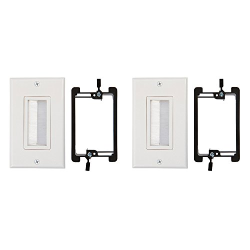 (Buyer's Point Brush Wall Plate [UL Listed], with Single Gang Low Voltage Mounting Bracket Device (White Kit) (2, White Kit))