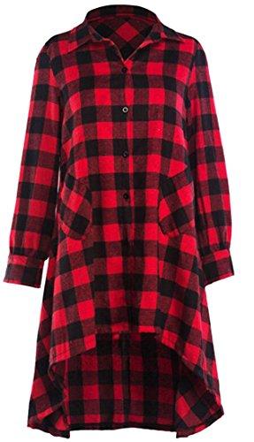 Camicetta Camicia Lunga Tasto Plaid Manica piccolo Rossa Irregolare Cruiize Il Vestito Bordo Womens Xxx Giù pPaqtwZ