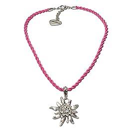 Alpenflüstern DHK100 Rope Costume Necklace Rhinestone Edelweiss Women's Costume Jewellery Dirndl Necklace Pink Fuchsia