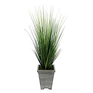 House of Silk Flowers Artificial 4ft PVC Grass in Washed Wood Planter 92
