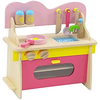 18 Inch Doll Furniture | Pink Multicolored Wooden Kitchen Set With Oven,  Stove,