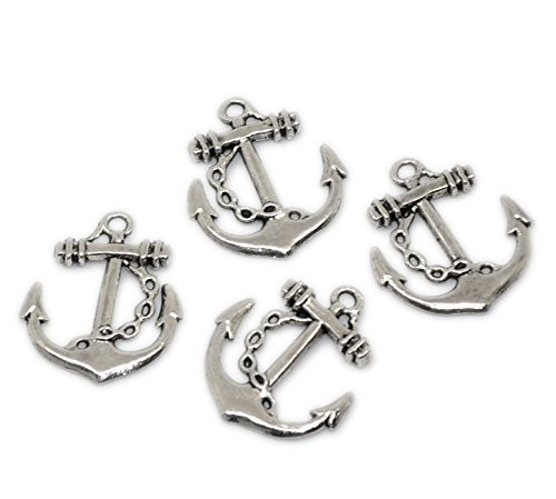 PEPPERLONELY Brand 20PC Antiqued Silver Anchor Connectors Charms Pendants 25x27mm (1x1-1/16 Inch) -