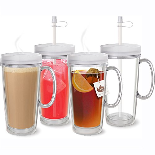USA Made Clear Thermal Mug with Handle, Lid & Straw - Set of 4 - Double Wall Insulated- USA Made Acrylic - 16 oz.
