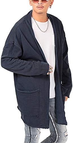 カーディガン メンズ ロング丈 長袖 ピグメント 無地 裏毛 LUX STYLE(ラグスタイル)
