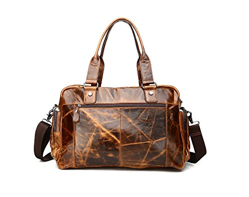 Brown Shoulder Yellow For Leather Male Totes Bag Messenger Genuine Men's Leisure wvtn6