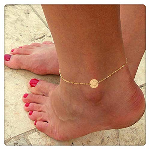 SEUSUK Gold Anklet Bracelet Dainty Boho Beach 14K Gold Fill Custom Initial Stamped Disc Moon Foot Chain Personalized Handmade Delicate Simple Cute Gold Jewelry for Women ()
