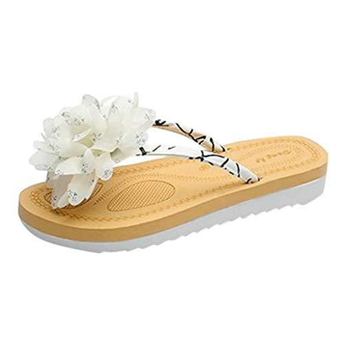 FAPIZI Womens House Slippers Spring and Summer Flip Flops Flower Flat Beach Platform Sliders Bath Slippers Shoes White