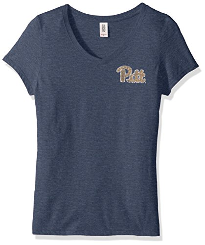 NCAA Pittsburgh Panthers womens Super Soft Women's Collegiate Bling V-Neck Tee, X-Large, Navy