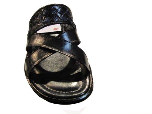 Davinci 1643 Italian Leather Open Toe Slide woven Detail Sandal Black/Black Size47