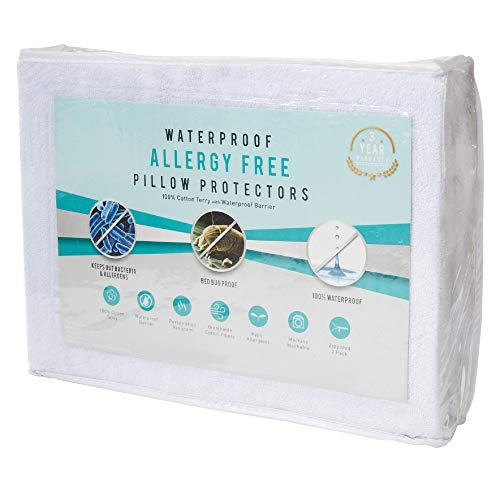 Home Fashion Designs 2 Pack Premium 100% Waterproof Pillow Protectors | Hypoallergenic | Dust Mite & Bed Bug Proof | 100% Cotton Terry Zippered Pillow Covers | Standard Size
