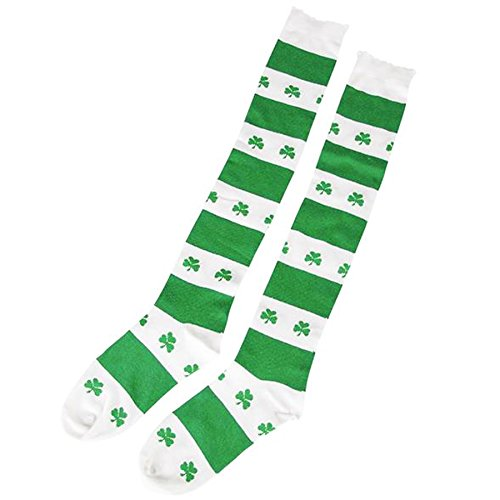 Shamrock Knee Socks, White/Green, One Size Fits Most ()