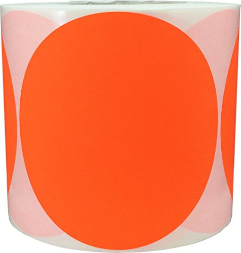 Color Coding Labels Fluorescent Red Round Circle Dots for Organizing Inventory 5 Inch 500 Total Adhesive Stickers