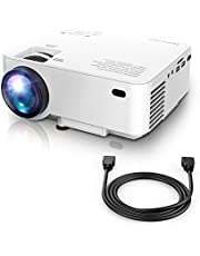 DBPOWER Mini Projector, 1080P Full HD LED Movie Projector, 50,000 Hours Lamp Life Home Theater Video Projector with HDMI Cable, Compatible with USB SD VGA AV TV Laptop