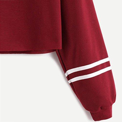 Camiseta de Las Mujeres, Ularma Mujer Casual Manga Larga Carta Suéter Impresión Capa Sudadera Remata La Blusa Rojo