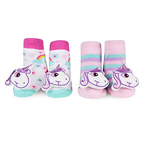 Waddle Unicorn Baby Rattle Socks 2 Pack Newborn Baby Booties 0-12 Mth Girls Pink (Booties With Rattles)