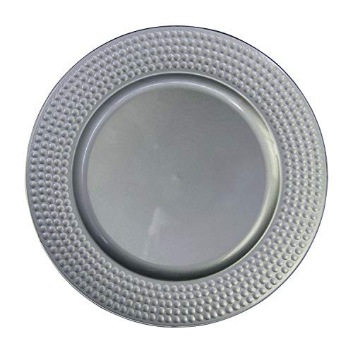 Silver Plastic Hammer Edge Charger Plates - 12 pcs 13 Inch Round Wedding Party Decroation Charger Plates (Hammer Silver, 12) (Silver Edge Plates)