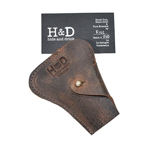 Hide & Drink, Rustic Durable Full Grain Leather Razor Cover, Classic Protective Case, Safe & Easy to Store, Barber & Traveller Essentials, Handmade Includes 101 Year Warranty :: Bourbon Brown