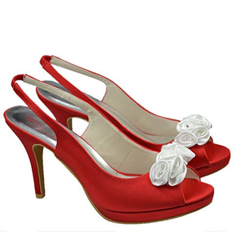 Minitoo - Sandalias de vestir de satén para mujer, color Beige, talla 36
