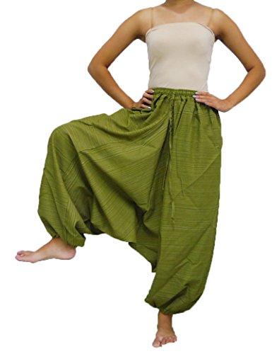 Loongcha's Women 100% Stripe Cotton Baggy Aladdin Hippy Harem Pants Adjustable Waist (Olive Green)