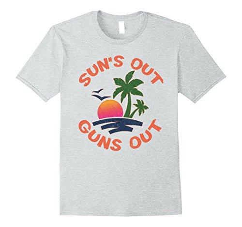 Mens Sun's out guns out funny beach tee shirt 2XL Heather...