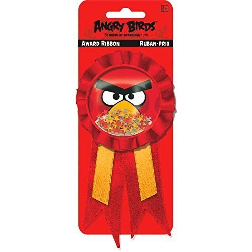 Birds Medallions ((Ship From USA) Amscan Angry Birds Birthday Party Confetti Pouch Award Ribbon (1 Piece),, Red / Features a bubble medallion filled with multicolored metallic confetti stars and a picture of Red Bird.)