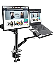 WINOK Dual Monitor Desk Mount Stand, Monitor and Laptop Mount, 2-in-1 Adjustable Arm Laptop Desk Mounts Aluminum Alloy Stand Holder for 17 to 32 Inch LCD Computer Screens, Extra Tray Fits 12 to 17 inch Laptops - Black