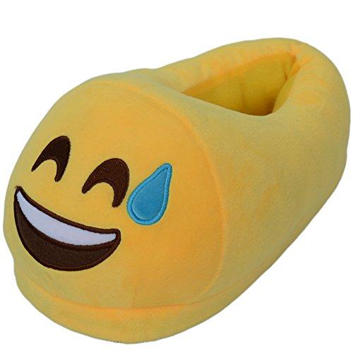 Ea @ Marknads Unisex Vuxen Tecknade Emojiwinter Plysch Inomhus Tofflor No.11 Emoji