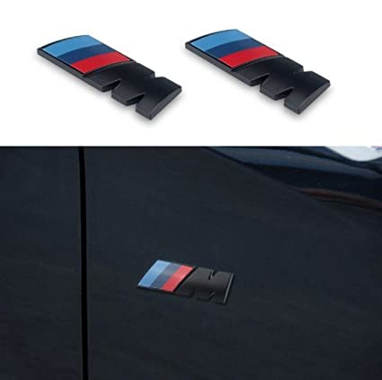 798e6ab9174c5 Amazon.com  Black M Tri Color Fender Side Emblem LOGO Decal BADGE Sticker  For All BMW  Automotive