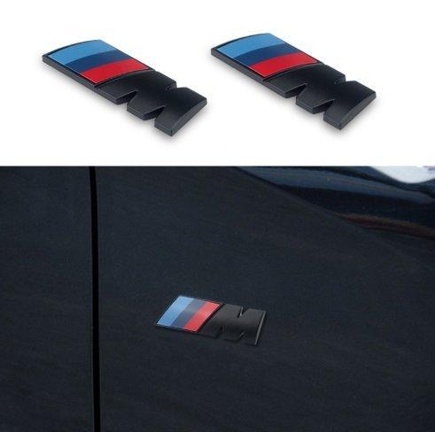 Black M Tri Color Fender Side Emblem LOGO Decal BADGE Sticker For All BMW