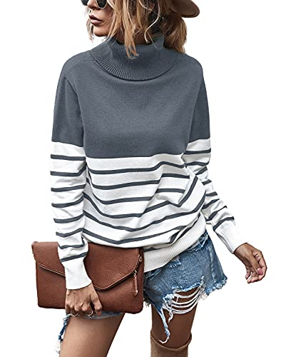 Grey Sweater Women Turtleneck Solid Color Soft Comfy Cable Knit Pullover Sweaters (M, Grey