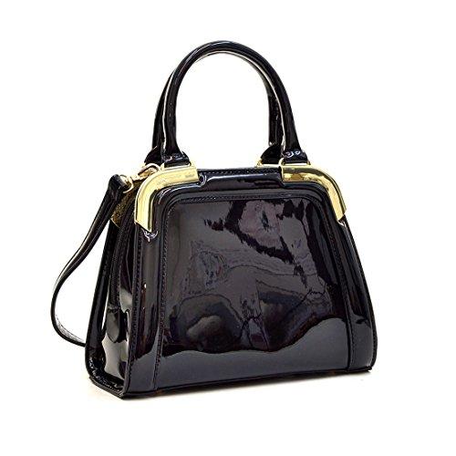 Patent Leather Like Handbag (Dasein Small Patent Leather Satchel Mini Corner Gold Tone Handbags Womens Shoulder Bags)