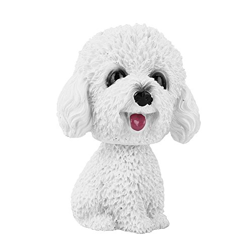 Huhushop Simulation Shaking Head Dog Decor Bobble-Head Dog Toy for Car Interior Dashboard Ornament,White Poodle(White)