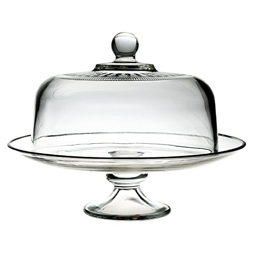 Anchor Hocking 13 Inch Tiered Glass Serving Platter with Annapolis Cake Dome