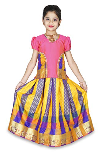 - kaatru Girls Pavadai Set D12 - Lehenga Choli - Buffon Sleeve (1-2 Y)
