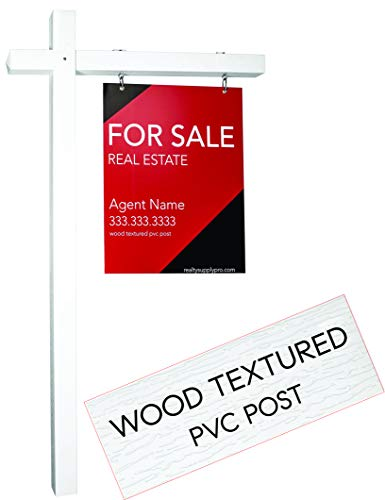 Decorative Sign Posts - Realty Supply Pro Real Estate Sign Post - 1000's Installed - Hang for Sale Signs - Commercial Grade Yard Sign Holder - PVC Textured Wood Appearance - 6 ft. Tall (White)