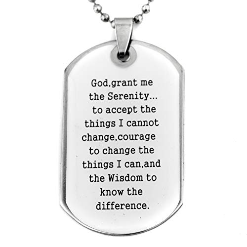 Soul Statement Confirmation Gifts Religious Necklace : Serenity Prayer Lord's Prayer Bible Verse Dog Tag Necklace (Serenity Prayer White)