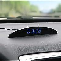 Riloer Reloj de Temperatura del Coche, Voltaje del Termómetro del Reloj Digital del Tablero de Instrumentos Automático…