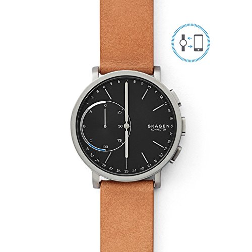 Skagen Connected Men's Hagen Titanium and Leather Hybrid Smartwatch, Color: Silver-Tone, Tan (Model: SKT1104) ()