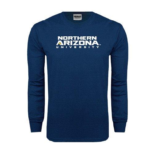 Northern Arizona Navy Long Sleeve T Shirt 'Northern Arizona University Stacked' - Large