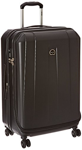 Shadow Spinners Pocket - Delsey Luggage Helium Shadow 3.0, Medium Checked Luggage, Hard Case Spinner Suitcase, Black