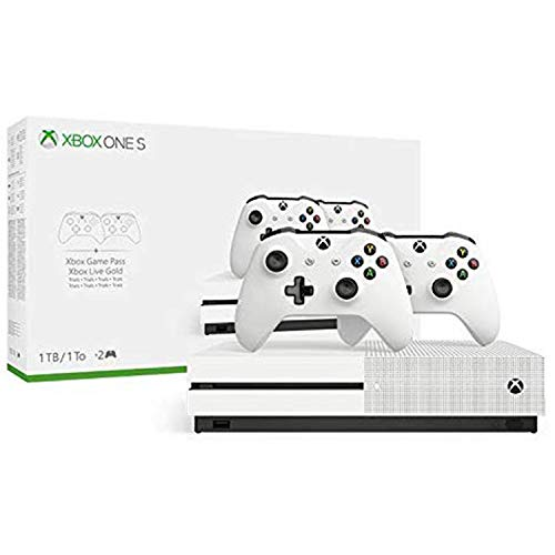 Xbox One S Two Controller Bundle (1TB) Includes Xbox One S, Extra Wireless Controller, 3-Month Game Pass Trial, 14-day Xbox Live Gold Trial